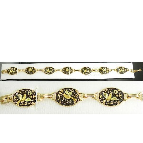 Damascene Gold Link Bracelet Oval Bird by Midas of Toledo Spain style 800001