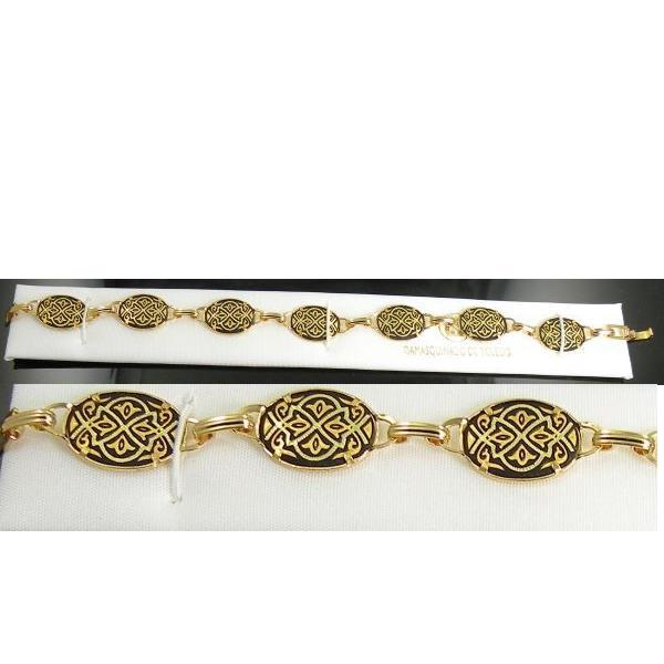 Damascene Gold Link Bracelet Oval Geometric by Midas of Toledo Spain style 800001