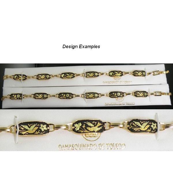 Damascene Gold Link Bracelet Rectangle Bird by Midas of Toledo Spain style 800002