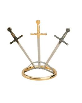 Miniature Sword Display Stand (Silver) by Marto of Toledo Spain – Three Sword Display Silver