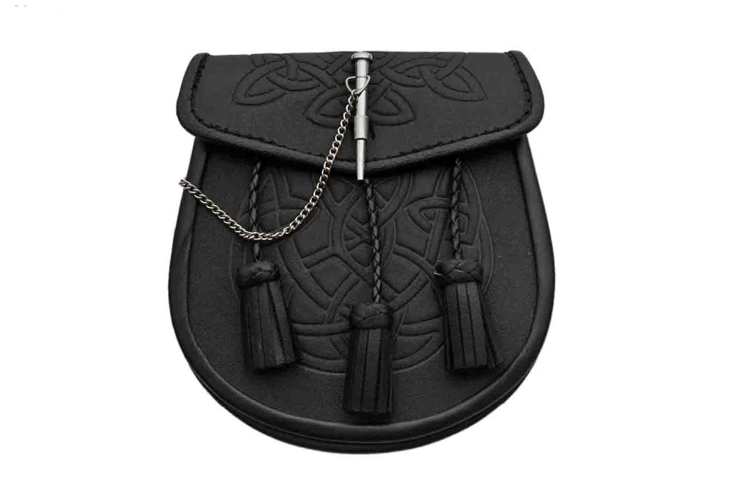 CELTIC KNOT SPORRAN W/PIN BLK LEATHER