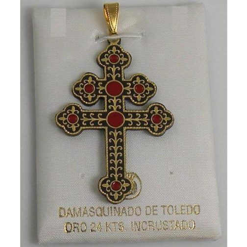 Damascene Patriarchal Cross Pendant by Midas of Toledo Spain style 4223