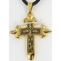 Damascene Gold Cross Thorn Pendant on Black Cord Necklace by Midas of Toledo Spain style 8235