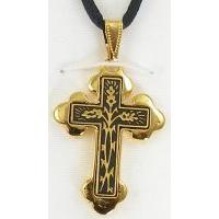 Damascene Gold Cross Thorn Pendant on Black Cord Necklace by Midas of Toledo Spain style 8236