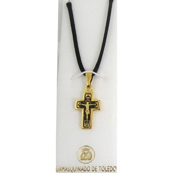 Damascene Gold Cross Jesus Pendant on Black Cord Necklace by Midas of Toledo Spain style 8238
