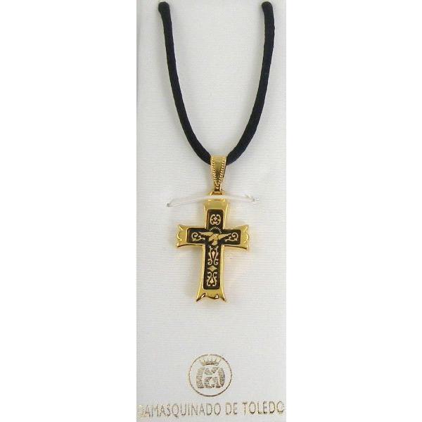 Damascene Gold Cross Bird Pendant on Black Cord Necklace by Midas of Toledo Spain style 8239