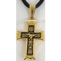 Damascene Gold Cross Bird Pendant on Black Cord Necklace by Midas of Toledo Spain style 8239