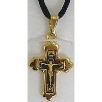 Damascene Gold Cross Jesus Pendant on Black Cord Necklace by Midas of Toledo Spain style 8240