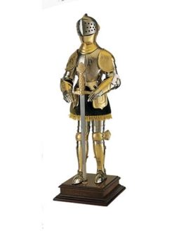 Miniature 16th Century Spanish Suit of Armor with Sword (Gold) by Marto of Toledo Spain