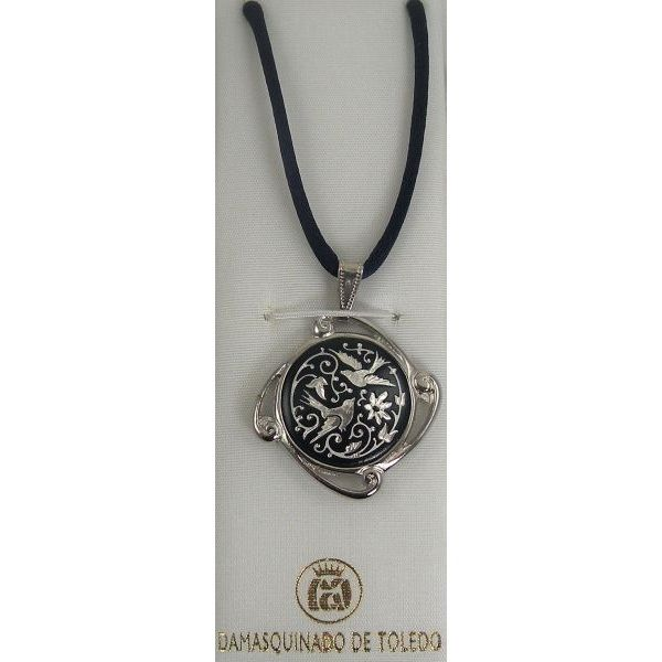 Damascene Silver Bird Round Pendant on Cord Necklace by Midas of Toledo Spain style 9224
