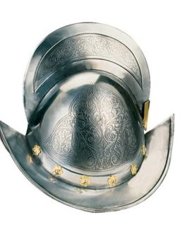 Engraved Spanish Round Morion Helmet by Marto of Toledo Spain (Gold inlaids)