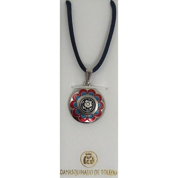 Damascene Silver and Enamel Red and Blue Flower Round Pendant on Cord Necklace by Midas of Toledo Spain style 9246-1