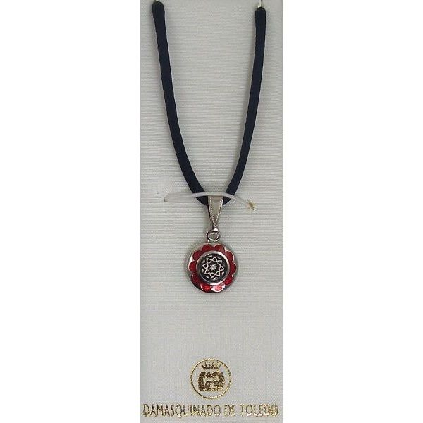 Damascene Silver and Enamel Red Star Round Pendant on Cord Necklace by Midas of Toledo Spain style 9247-1