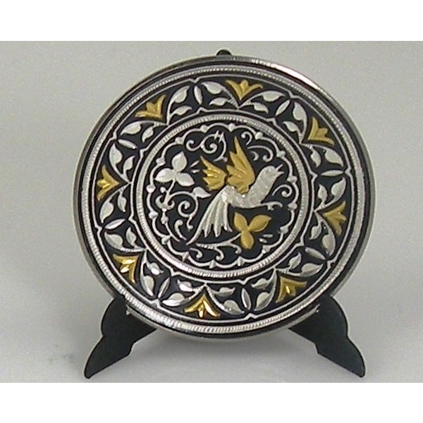 Damascene Gold and Silver Bird Round Decorative Plate by Midas of Toledo Spain style 92925-8