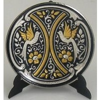 Damascene Gold and Silver Bird Round Decorative Plate by Midas of Toledo Spain style 92925-9