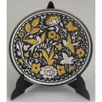 Damascene Gold and Silver Bird Round Decorative Plate by Midas of Toledo Spain style 92937-1