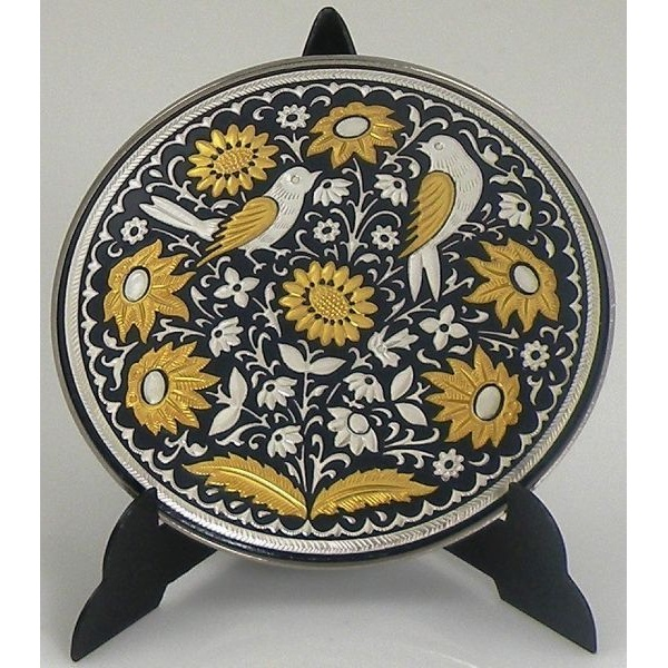 Damascene Gold and Silver Bird Round Decorative Plate by Midas of Toledo Spain style 92937-3