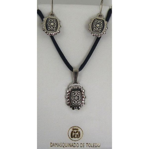 Damascene Silver Star Rectangle Pendant Necklace and Drop Earrings Set by Midas of Toledo Spain style 9403