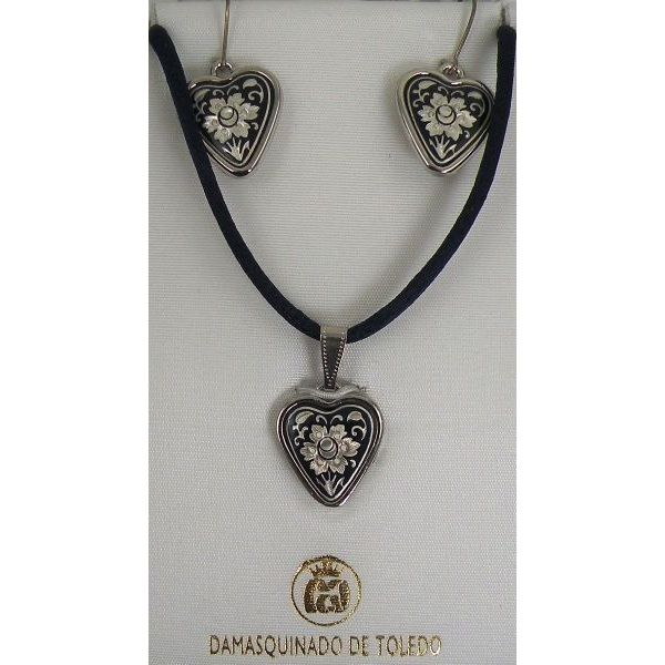Damascene Silver Flower Heart Pendant Necklace and Drop Earrings Set by Midas of Toledo Spain style 9405