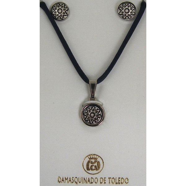 Damascene Silver Star Round Pendant Necklace and Stud Earrings Set by Midas of Toledo Spain style 9407