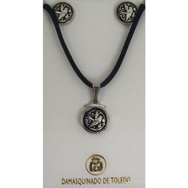 Damascene Silver Bird Round Pendant Necklace and Stud Earrings Set by Midas of Toledo Spain style 9408