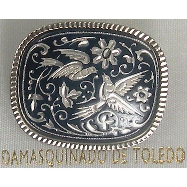 Damascene Silver Bird Rectangle Brooch by Midas of Toledo Spain style 9702