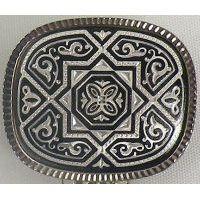 Damascene Silver Geometric Rectangle Brooch by Midas of Toledo Spain style 9702