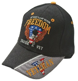 """ IF YOU LOVE YOUR FREEDOM, THANK A VET"" BLACK CAP"