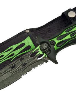 10″ FLAME SKULL KNIFE (GREEN)