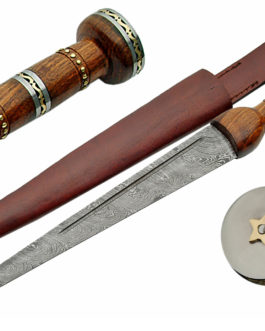 20″DAMASCUS DIRK STAR BUTTED WOOD HANDLE