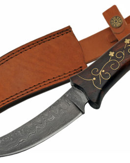 11.5″ DAMASCUS BRASS INLAY HUNTING KNIFE