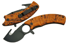 4.5″ ORANGE CAMO GUTHOOK FOLDING KNIFE
