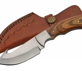 7.5″ PAKKA WOOD  GUTHOOK HUNTING KNIFE