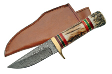 7″ DAMASCUS HUNTER WITH STAG HANDLE