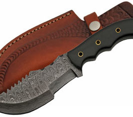 9.75″ TRACKER STYLE MICARTA DAMASCUS KNIFE