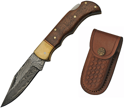 3.75″ WOODEN LOCKBACK DAMASCUS FOLDER