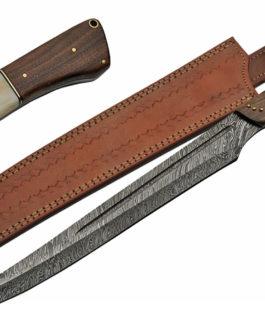 22″ DAMASCUS BONE/WALNUT SWORD