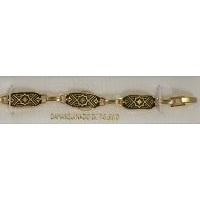 Damascene Gold Link Bracelet Rectangle Star by Midas of Toledo Spain style 800002
