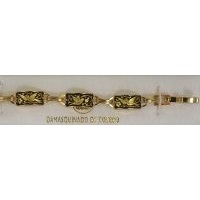 Damascene Gold Link Bracelet Rectangle Bird by Midas of Toledo Spain style 800003