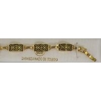 Damascene Gold Link Bracelet Rectangle Geometric by Midas of Toledo Spain style 800003