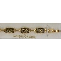 Damascene Gold Link Bracelet Rectangle Star by Midas of Toledo Spain style 800003