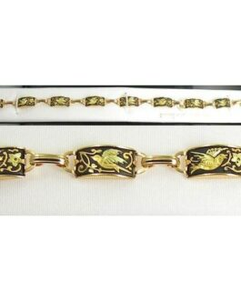 Damascene Gold Link Bracelet Rectangle Bird by Midas of Toledo Spain style 800004