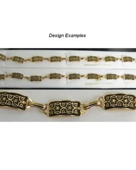 Damascene Gold Link Bracelet Rectangle Star of David by Midas of Toledo Spain style 800004