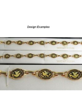 Damascene Gold Link Bracelet Oval Bird by Midas of Toledo Spain style 800005
