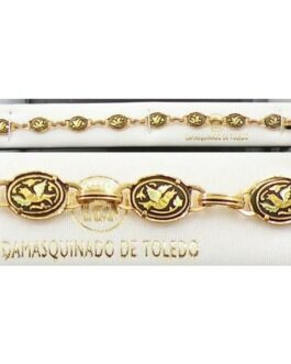 Damascene Gold Link Bracelet Oval Bird by Midas of Toledo Spain style 800006