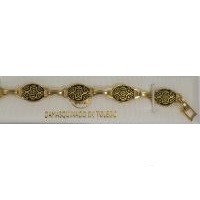 Damascene Gold Link Bracelet Oval Star of David by Midas of Toledo Spain style 800006