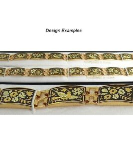Damascene Gold Link Bracelet Rectangle Bird by Midas of Toledo Spain style 800007