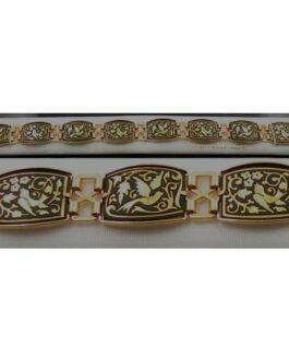 Damascene Gold Link Bracelet Rectangle Bird by Midas of Toledo Spain style 800008