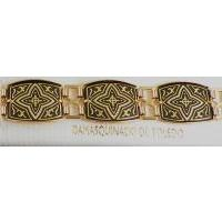 Damascene Gold Link Bracelet Rectangle Geometric by Midas of Toledo Spain style 800008