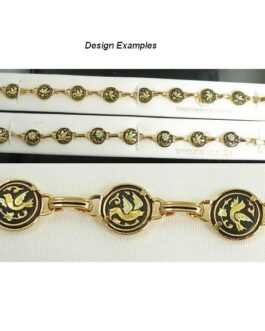 Damascene Gold Link Bracelet Round Bird by Midas of Toledo Spain style 800010